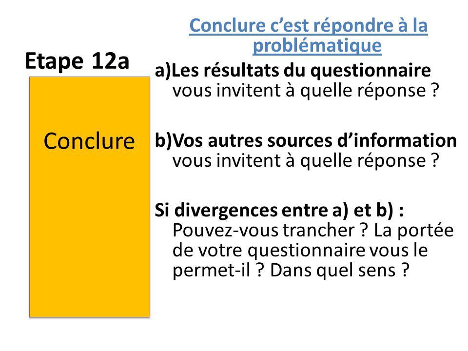 Etape 12a Conclure c'est répondre à la problématique a)Les résultats du questionnaire vous invitent à quelle réponse ? b)Vos autres sources d'informat