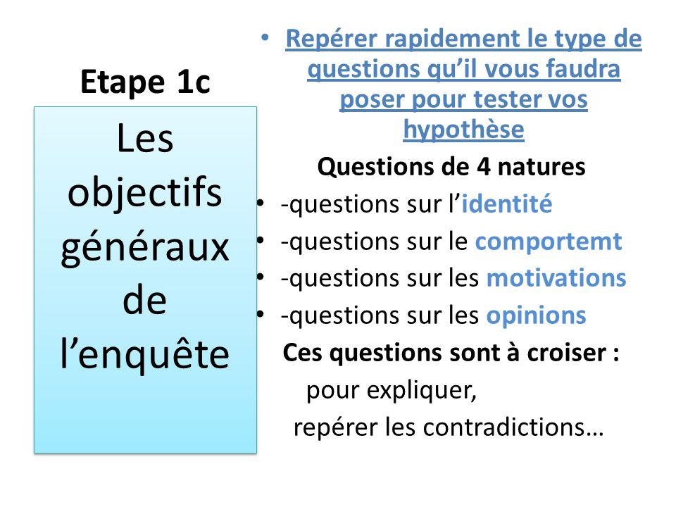 Etape 1c Repérer rapidement le type de questions qu'il vous faudra poser pour tester vos hypothèse Questions de 4 natures -questions sur l'identité -q
