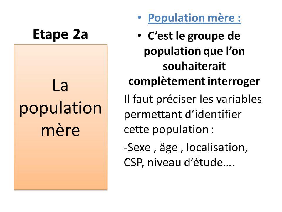 Etape 2a Population mère : C'est le groupe de population que l'on souhaiterait complètement interroger Il faut préciser les variables permettant d'ide