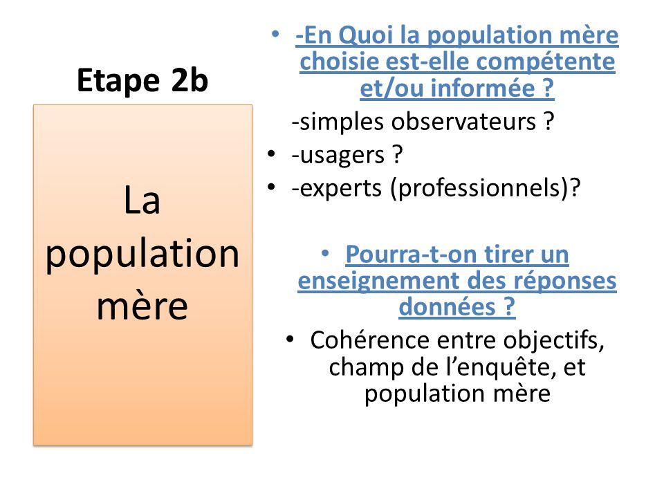 Etape 2b -En Quoi la population mère choisie est-elle compétente et/ou informée ? -simples observateurs ? -usagers ? -experts (professionnels)? Pourra