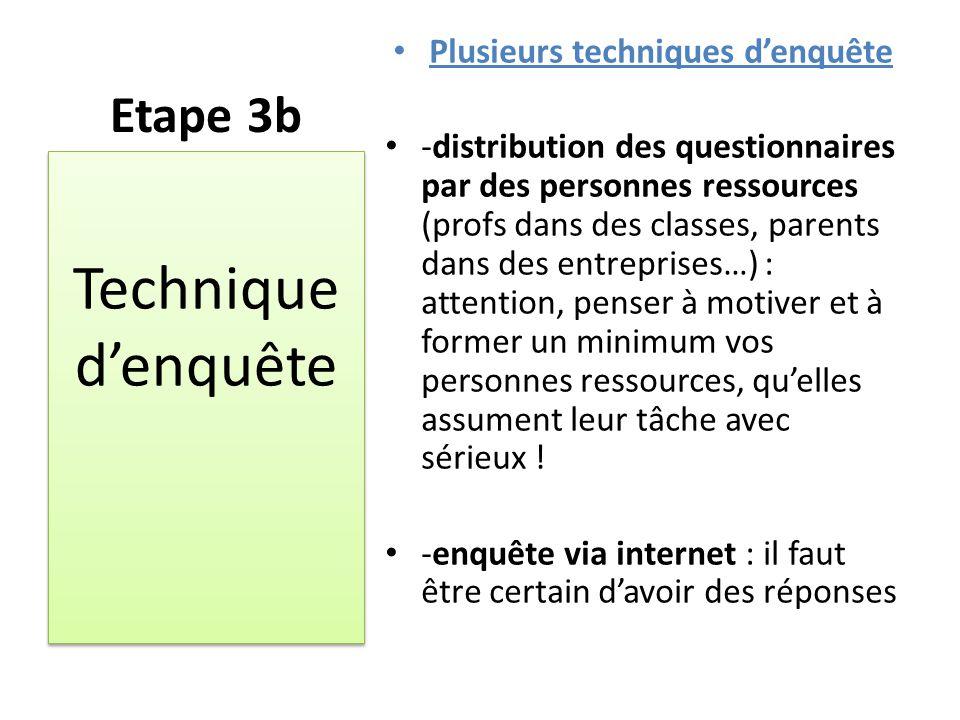 Etape 3b Plusieurs techniques d'enquête -distribution des questionnaires par des personnes ressources (profs dans des classes, parents dans des entrep