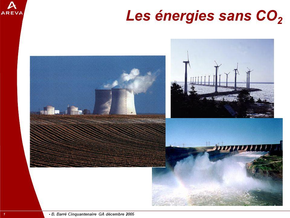 - B. Barré Cinquantenaire GA décembre 2005 1 Les énergies sans CO 2