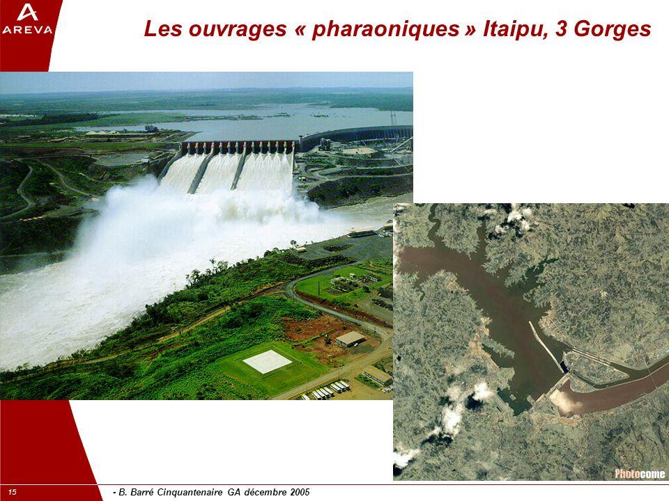 - B. Barré Cinquantenaire GA décembre 2005 15 Les ouvrages « pharaoniques » Itaipu, 3 Gorges