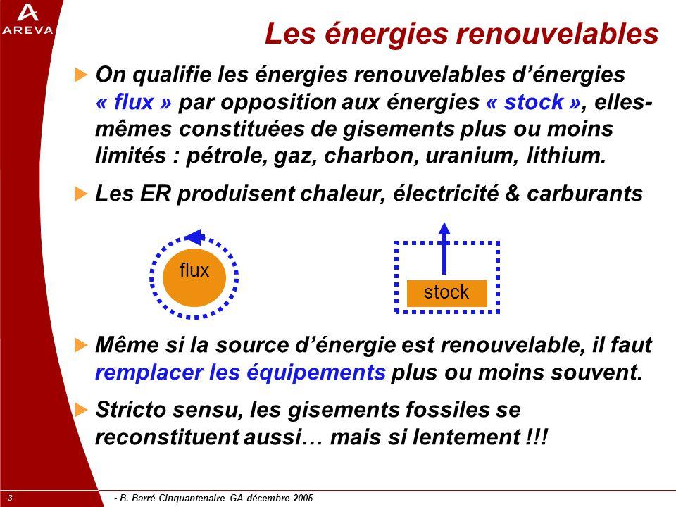- B. Barré Cinquantenaire GA décembre 2005 3 Les énergies renouvelables  On qualifie les énergies renouvelables d'énergies « flux » par opposition au
