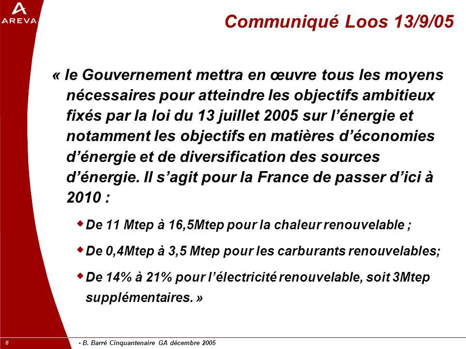 - B. Barré Cinquantenaire GA décembre 2005 8 Communiqué Loos 13/9/05 « le Gouvernement mettra en œuvre tous les moyens nécessaires pour atteindre les