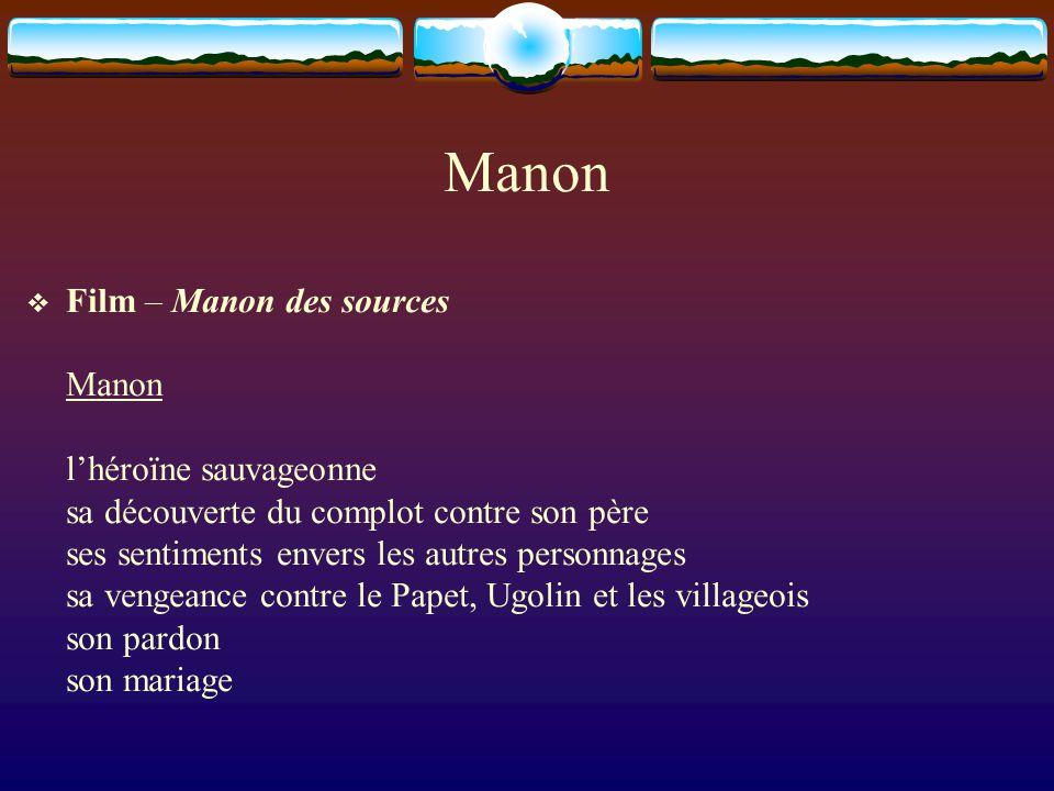 Manon  Film – Manon des sources Manon l'héroïne sauvageonne sa découverte du complot contre son père ses sentiments envers les autres personnages sa