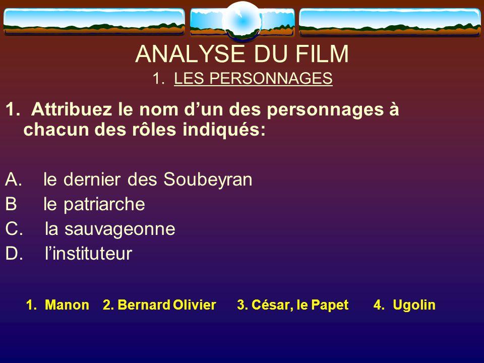 ANALYSE DU FILM 1. LES PERSONNAGES 1. Attribuez le nom d'un des personnages à chacun des rôles indiqués: A. le dernier des Soubeyran B le patriarche C