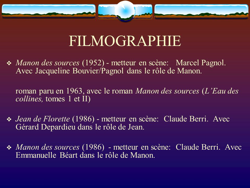 FILMOGRAPHIE  Manon des sources (1952) - metteur en scène: Marcel Pagnol. Avec Jacqueline Bouvier/Pagnol dans le rôle de Manon. roman paru en 1963, a
