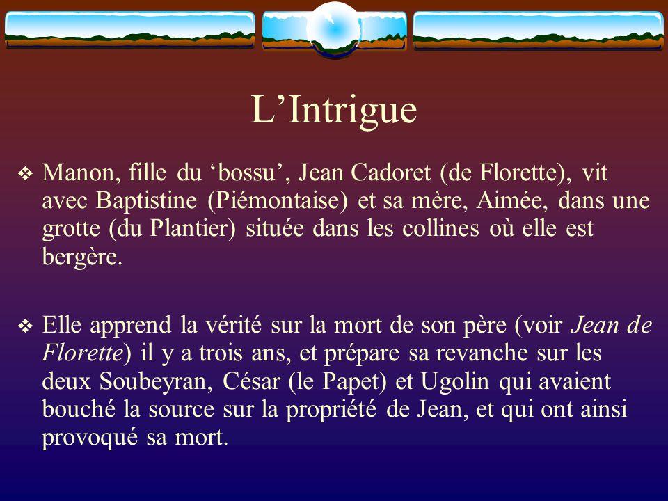 L'Intrigue  Manon, fille du 'bossu', Jean Cadoret (de Florette), vit avec Baptistine (Piémontaise) et sa mère, Aimée, dans une grotte (du Plantier) s