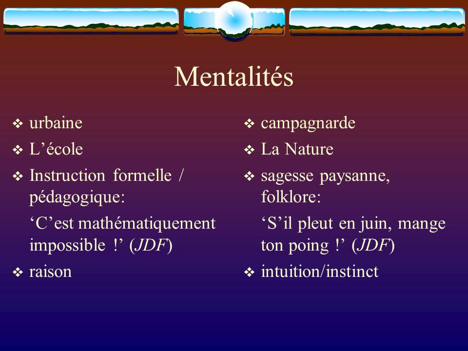 Mentalités  urbaine  L'école  Instruction formelle / pédagogique: 'C'est mathématiquement impossible !' (JDF)  raison  campagnarde  La Nature 