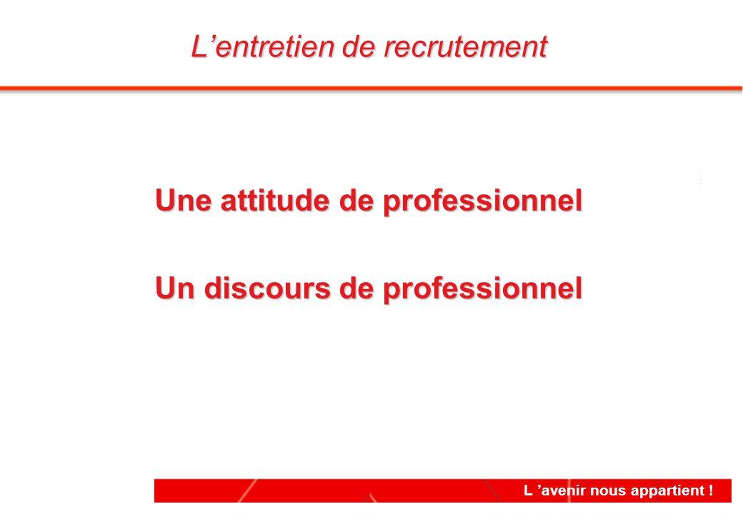 L 'avenir nous appartient ! Une attitude de professionnel Un discours de professionnel Une attitude de professionnel Un discours de professionnel L'en