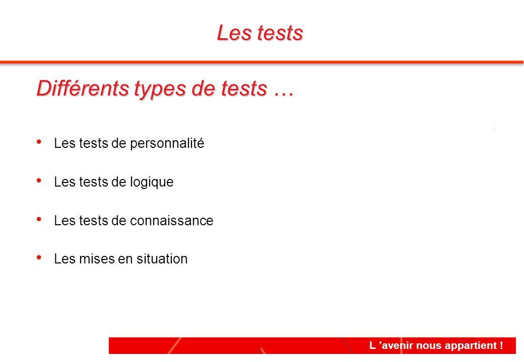 L 'avenir nous appartient ! Les tests Différents types de tests … Les tests de personnalité Les tests de logique Les tests de connaissance Les mises e