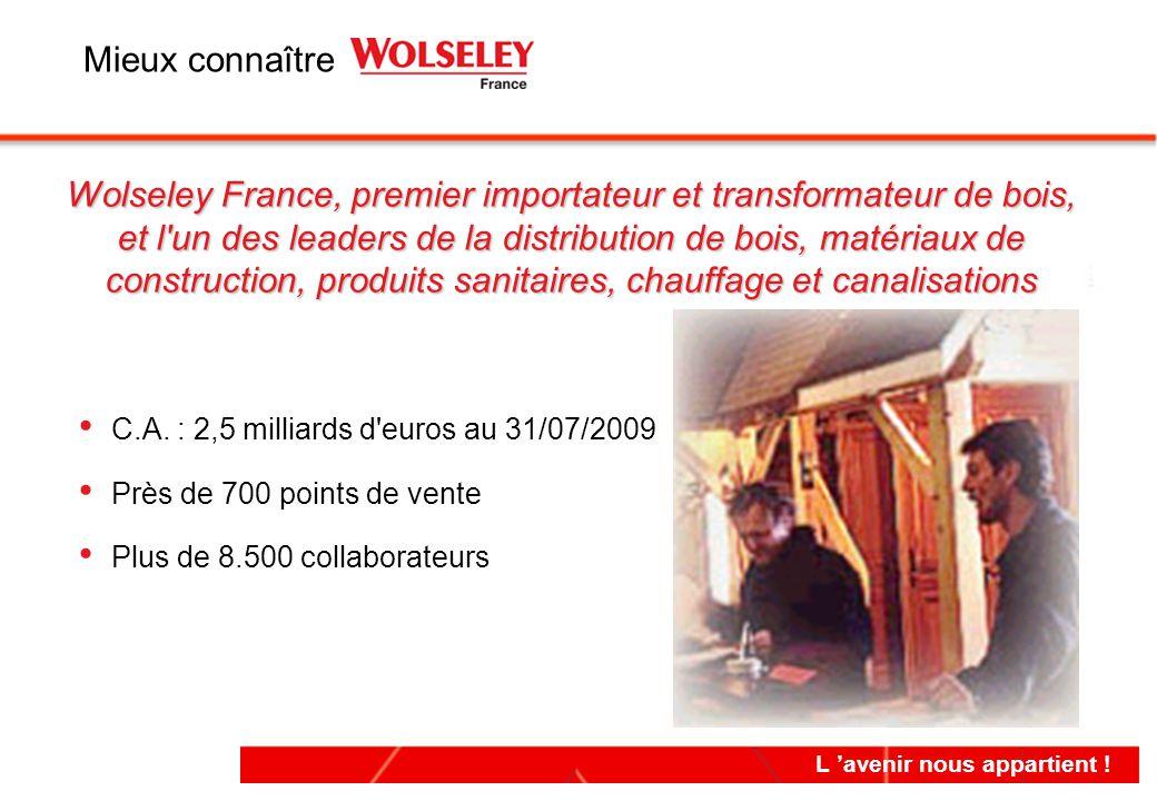 L 'avenir nous appartient ! Wolseley France, premier importateur et transformateur de bois, et l'un des leaders de la distribution de bois, matériaux