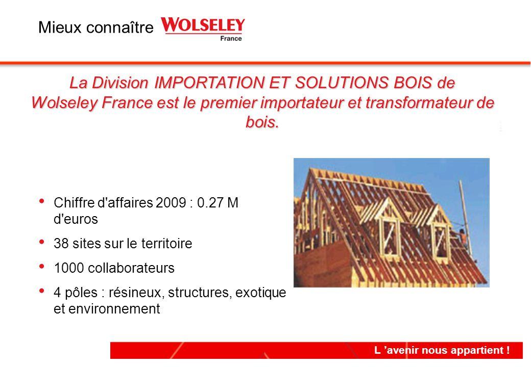 L 'avenir nous appartient ! Chiffre d'affaires 2009 : 0.27 M d'euros 38 sites sur le territoire 1000 collaborateurs 4 pôles : résineux, structures, ex