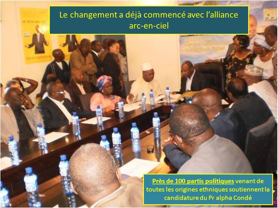 Le changement a déjà commencé avec l'alliance arc-en-ciel Près de 100 partis politiques venant de toutes les origines ethniques soutiennent la candidature du Pr alpha Condé