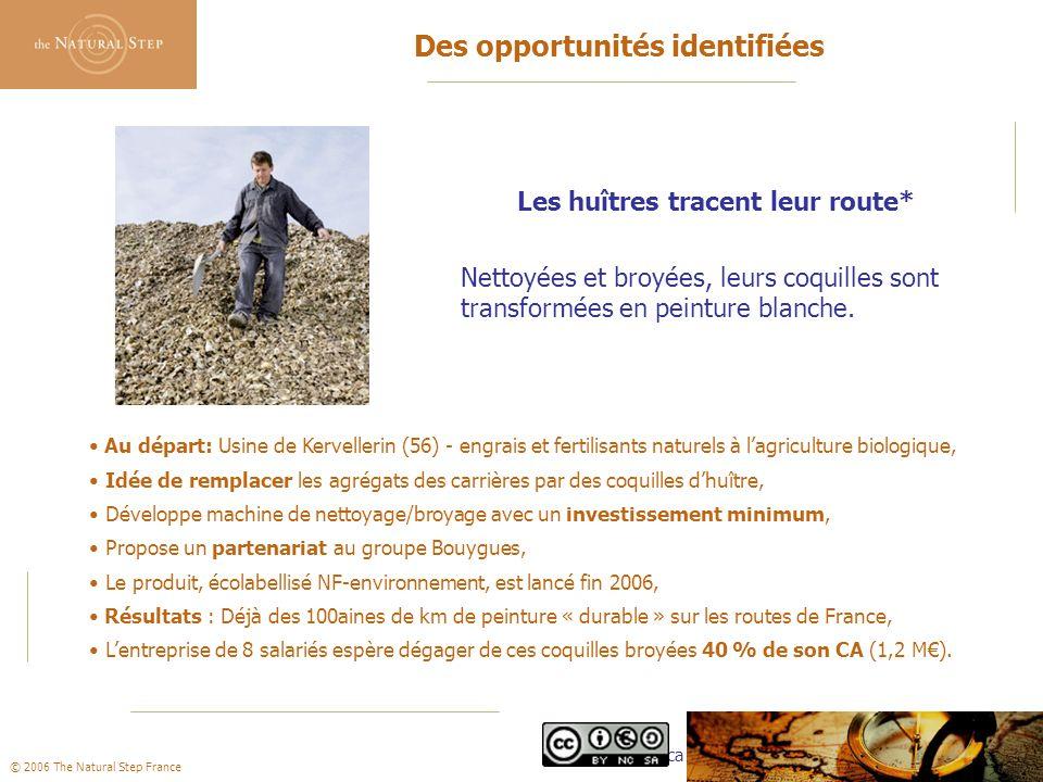 © 2006 The Natural Step France Des opportunités identifiées Les huîtres tracent leur route* Nettoyées et broyées, leurs coquilles sont transformées en