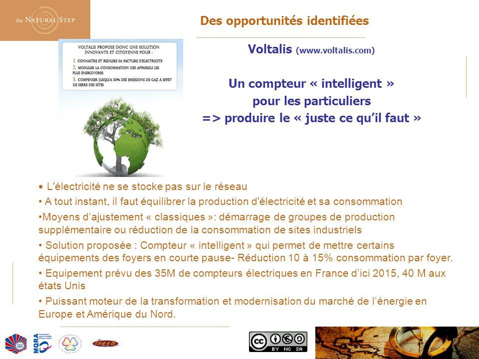 © 2006 The Natural Step France Des opportunités identifiées Voltalis (www.voltalis.com) Un compteur « intelligent » pour les particuliers => produire