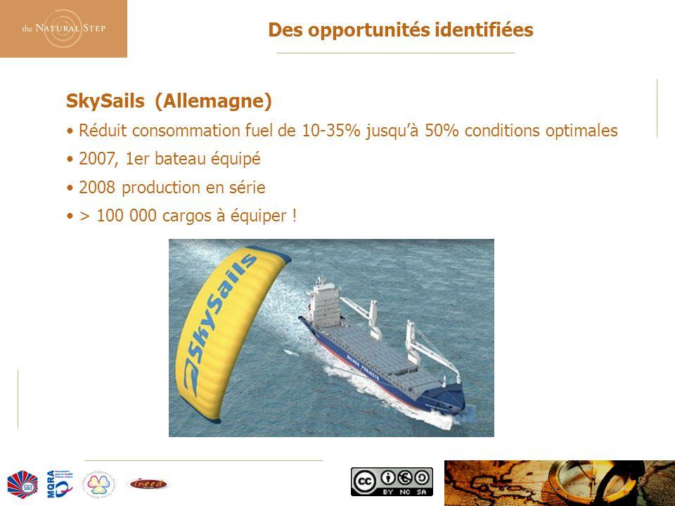 © 2006 The Natural Step France Des opportunités identifiées SkySails (Allemagne) Réduit consommation fuel de 10-35% jusqu'à 50% conditions optimales 2007, 1er bateau équipé 2008 production en série > 100 000 cargos à équiper !