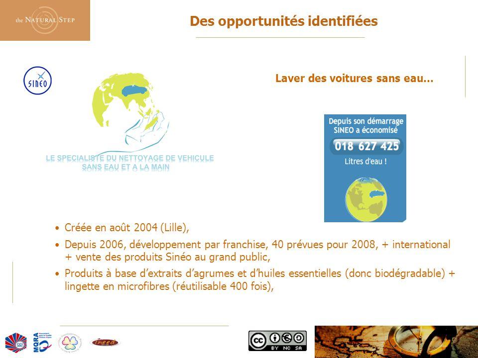 © 2006 The Natural Step France Des opportunités identifiées Créée en août 2004 (Lille), Depuis 2006, développement par franchise, 40 prévues pour 2008