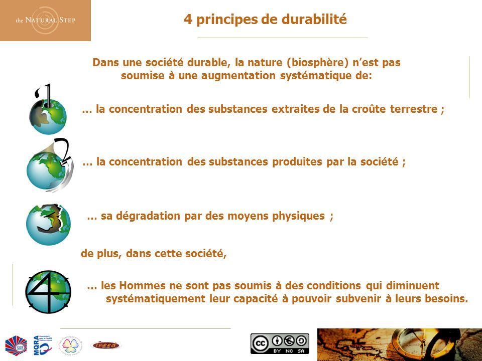 © 2006 The Natural Step France 4 principes de durabilité Dans une société durable, la nature (biosphère) n'est pas soumise à une augmentation systémat
