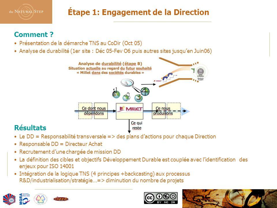 © 2006 The Natural Step France Comment ? Présentation de la démarche TNS au CoDir (Oct 05) Analyse de durabilité (1er site : Déc 05-Fev O6 puis autres