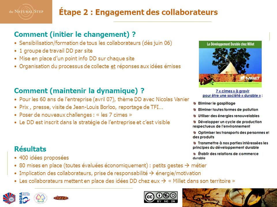 © 2006 The Natural Step France Étape 2 : Engagement des collaborateurs Comment (initier le changement) ? Sensibilisation/formation de tous les collabo