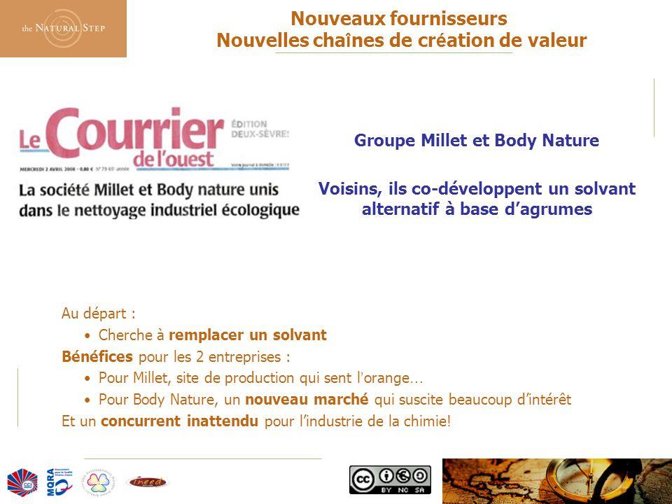 © 2006 The Natural Step France Nouveaux fournisseurs Nouvelles cha î nes de cr é ation de valeur Groupe Millet et Body Nature Voisins, ils co-développ