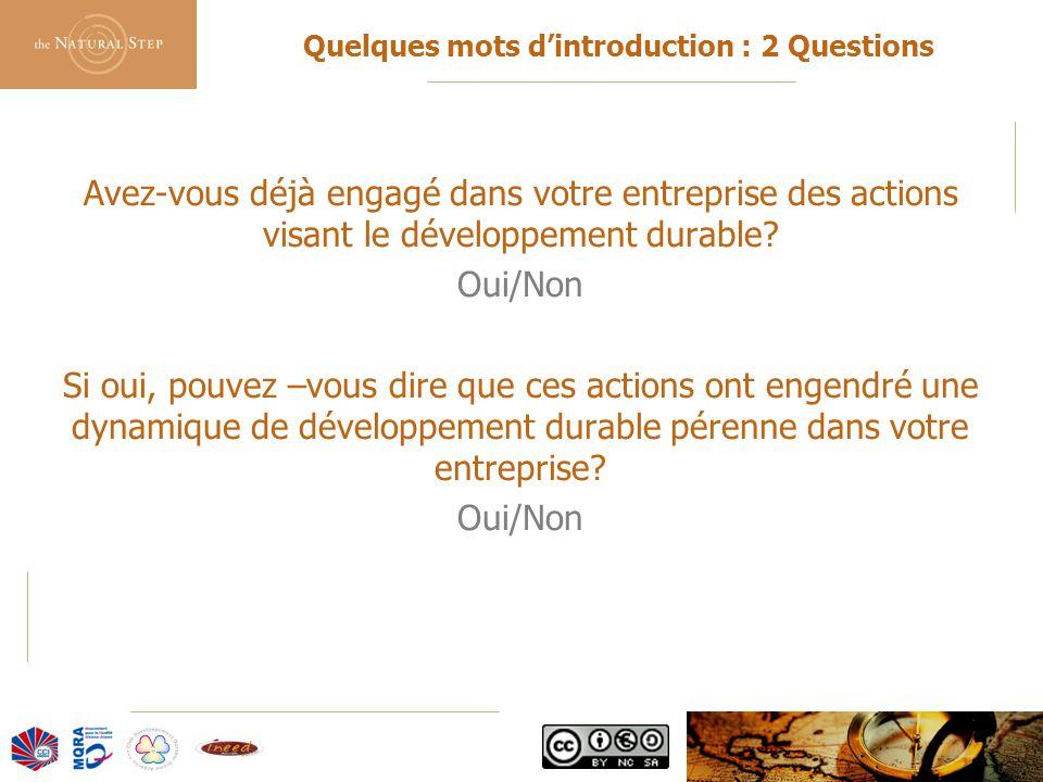 © 2006 The Natural Step France Quelques mots d'introduction : 2 Questions Avez-vous déjà engagé dans votre entreprise des actions visant le développem