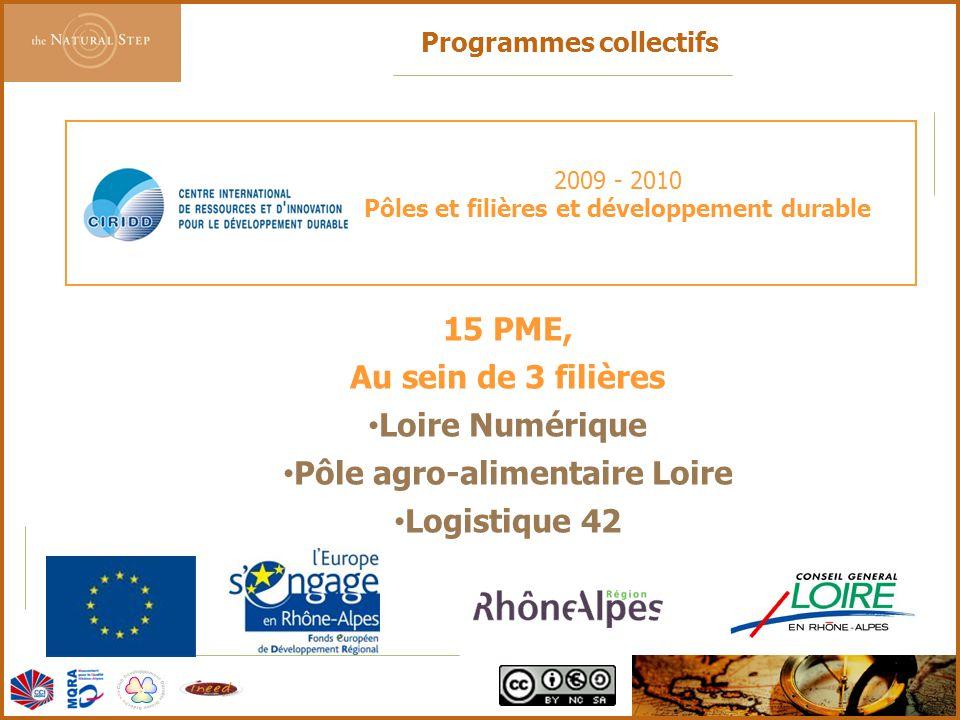 © 2006 The Natural Step France 2009 - 2010 Pôles et filières et développement durable 15 PME, Au sein de 3 filières Loire Numérique Pôle agro-alimenta