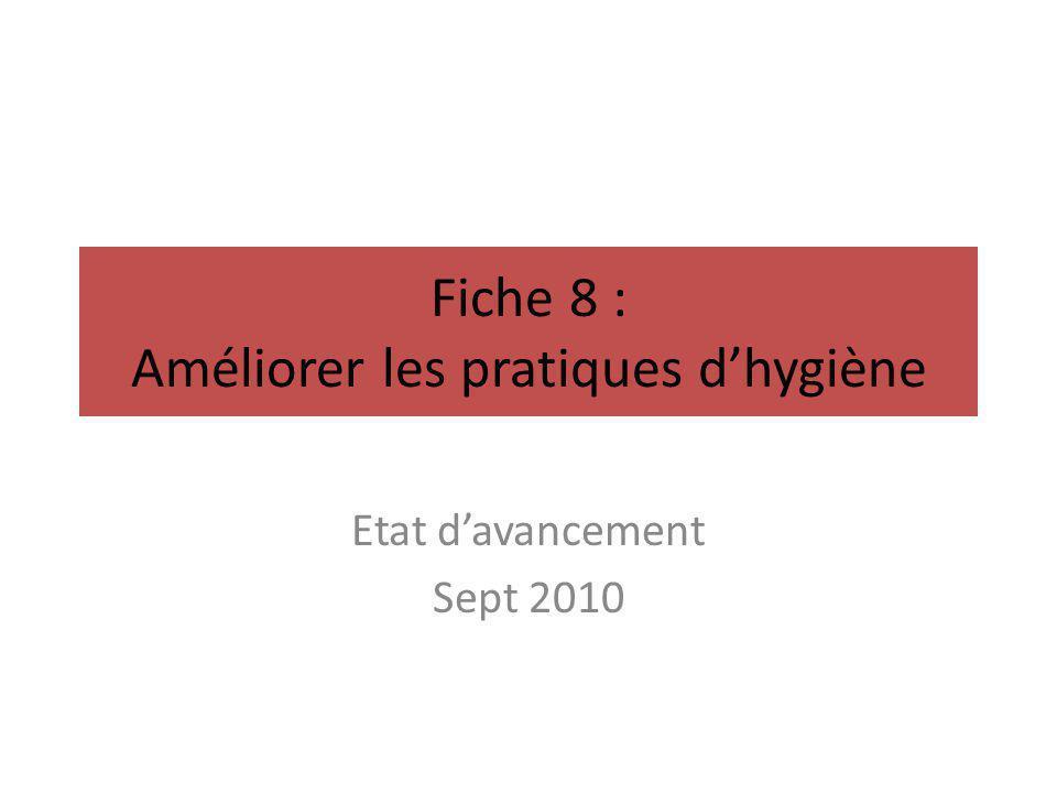 Fiche 8 : Améliorer les pratiques d'hygiène Etat d'avancement Sept 2010