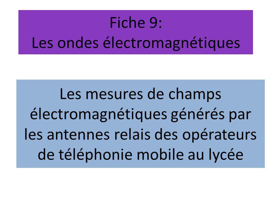 Fiche 9: Les ondes électromagnétiques Les mesures de champs électromagnétiques générés par les antennes relais des opérateurs de téléphonie mobile au lycée
