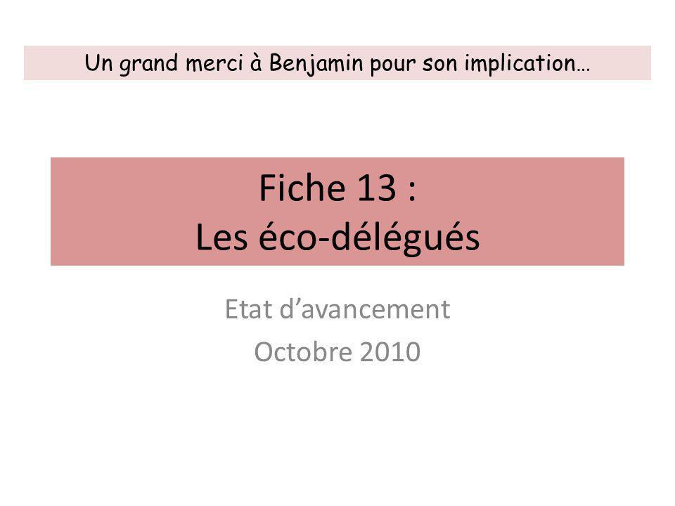 Fiche 13 : Les éco-délégués Etat d'avancement Octobre 2010 Un grand merci à Benjamin pour son implication…