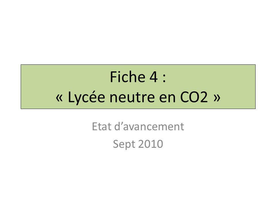 Fiche 4 : « Lycée neutre en CO2 » Etat d'avancement Sept 2010