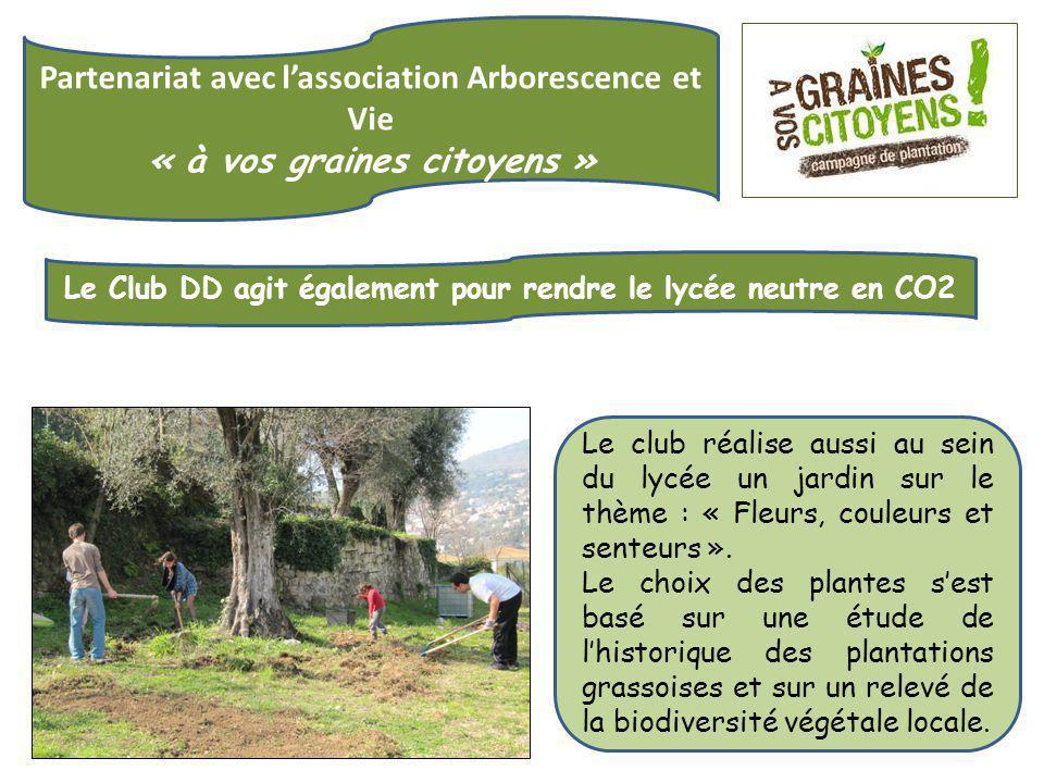 Partenariat avec l'association Arborescence et Vie « à vos graines citoyens » Le Club DD agit également pour rendre le lycée neutre en CO2 Le club réalise aussi au sein du lycée un jardin sur le thème : « Fleurs, couleurs et senteurs ».