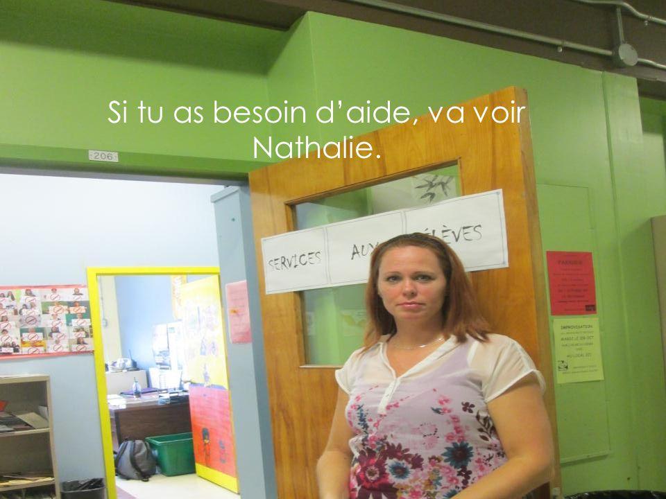 Si tu as besoin d'aide, va voir Nathalie.