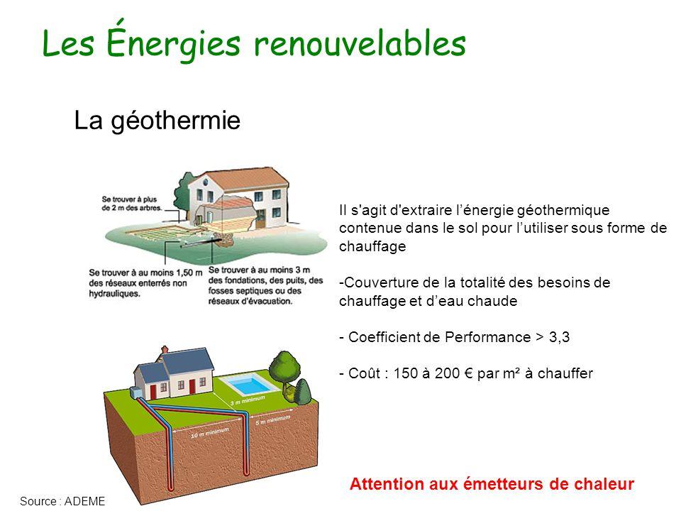 Les Énergies renouvelables La géothermie Il s agit d extraire l'énergie géothermique contenue dans le sol pour l'utiliser sous forme de chauffage -Couverture de la totalité des besoins de chauffage et d'eau chaude - Coefficient de Performance > 3,3 - Coût : 150 à 200 € par m² à chauffer Source : ADEME Attention aux émetteurs de chaleur