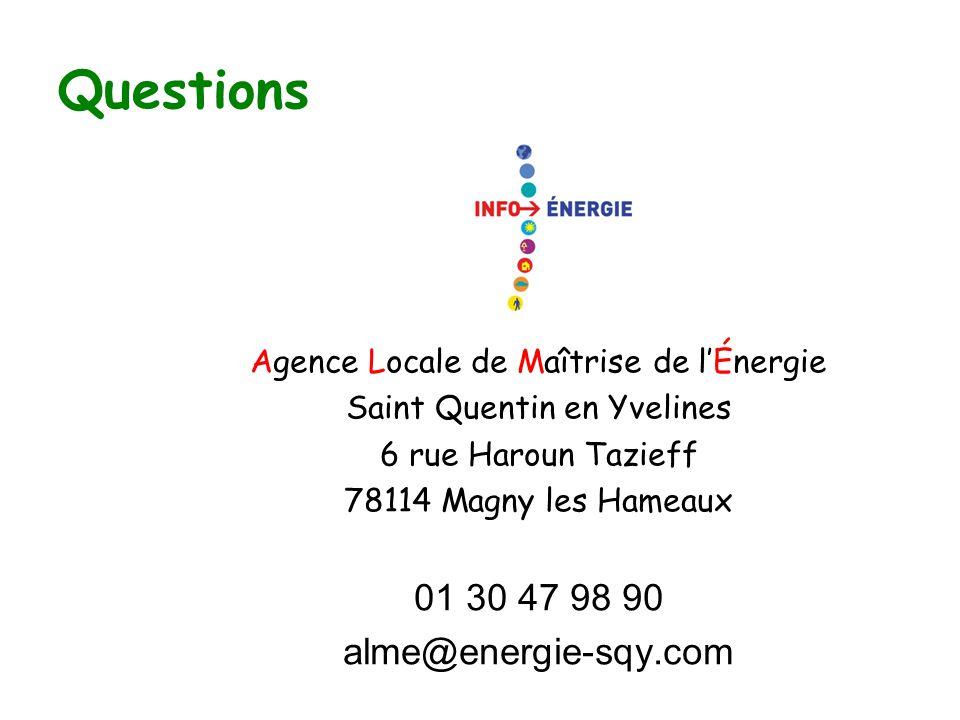 Questions Agence Locale de Maîtrise de l'Énergie Saint Quentin en Yvelines 6 rue Haroun Tazieff 78114 Magny les Hameaux 01 30 47 98 90 alme@energie-sqy.com