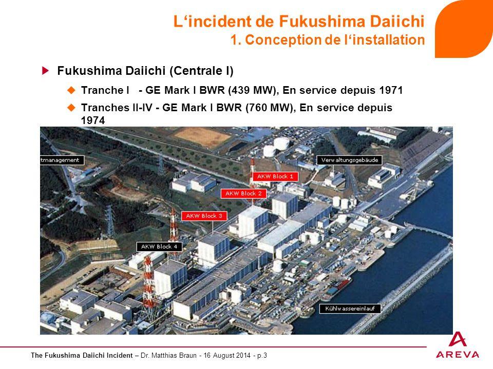 The Fukushima Daiichi Incident – Dr. Matthias Braun - 16 August 2014 - p.3 L'incident de Fukushima Daiichi 1. Conception de l'installation Fukushima D