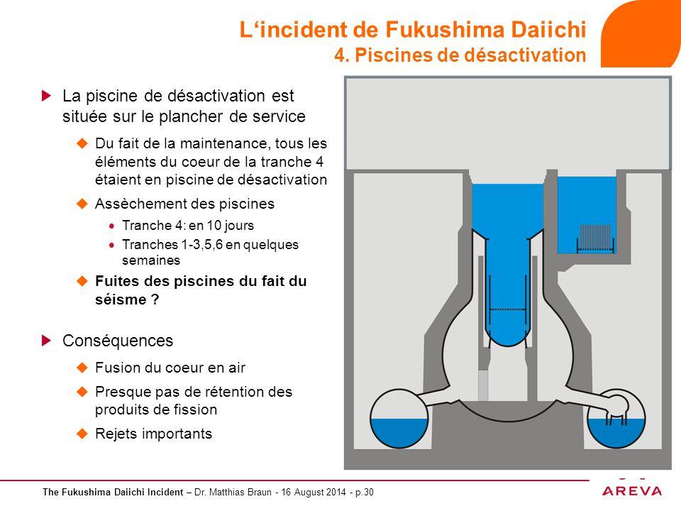 The Fukushima Daiichi Incident – Dr. Matthias Braun - 16 August 2014 - p.30 L'incident de Fukushima Daiichi 4. Piscines de désactivation La piscine de