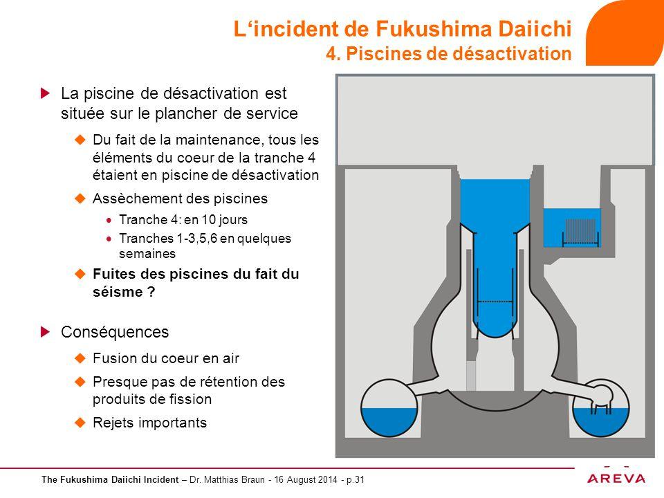 The Fukushima Daiichi Incident – Dr. Matthias Braun - 16 August 2014 - p.31 L'incident de Fukushima Daiichi 4. Piscines de désactivation La piscine de