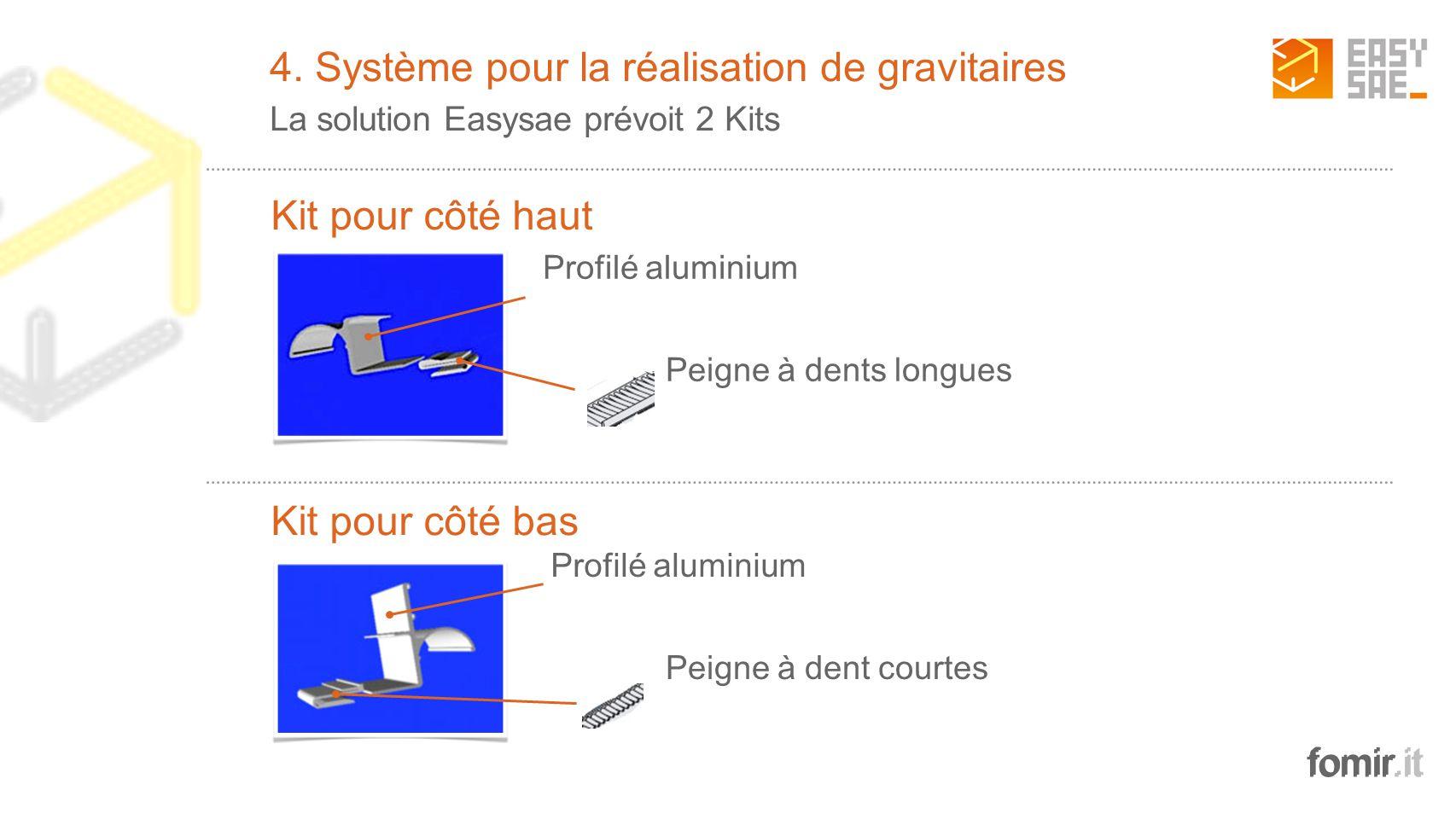 fomir.it Profilé aluminium 2 Peigne à dents longues Profilé aluminium Peigne à dent courtes Kit pour côté bas 4. Système pour la réalisation de gravit