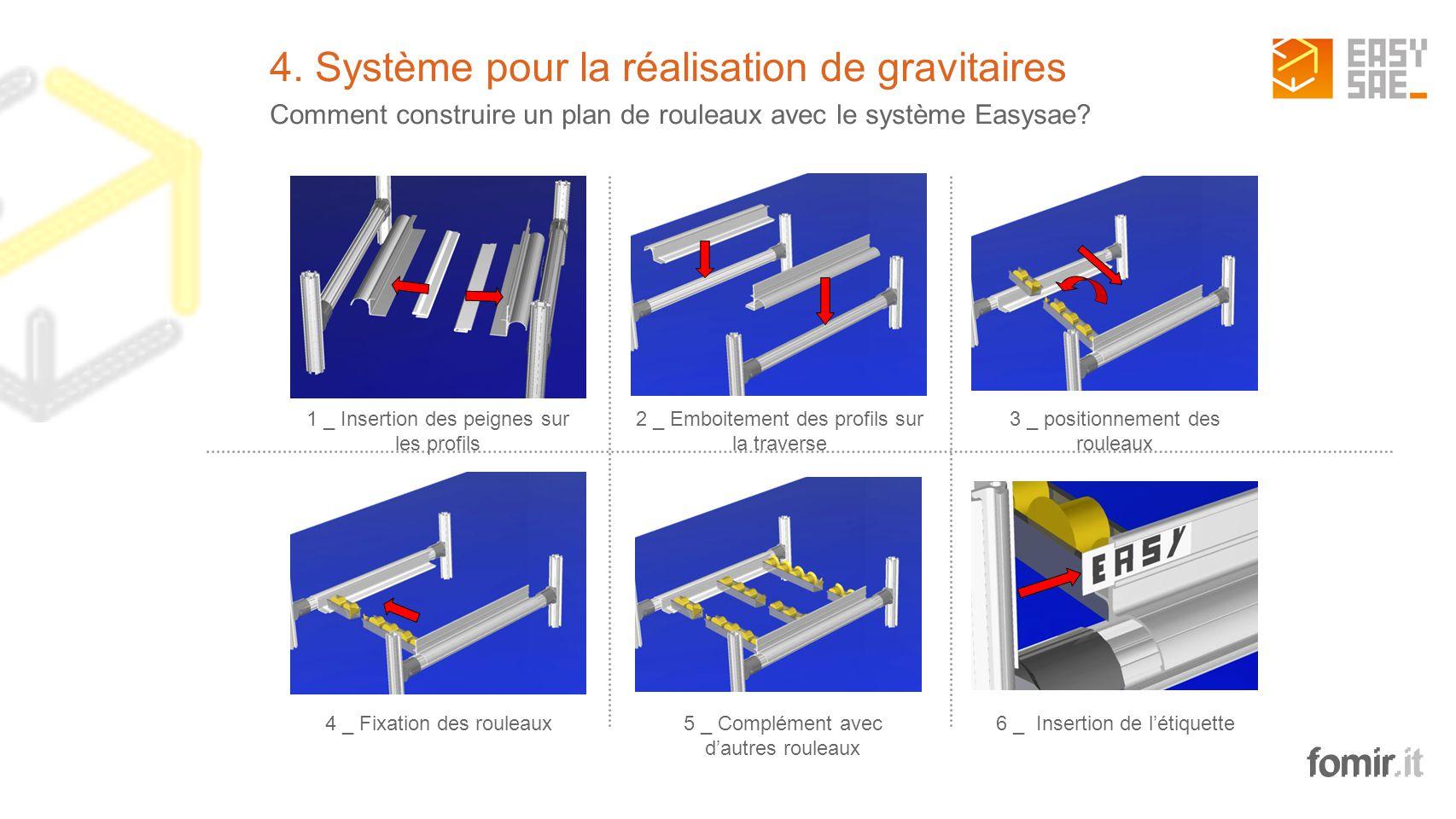 fomir.it 4. Système pour la réalisation de gravitaires Comment construire un plan de rouleaux avec le système Easysae? 1 _ Insertion des peignes sur l