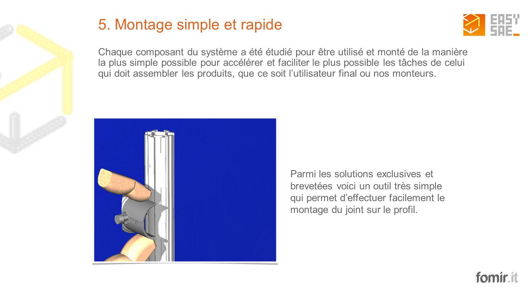 fomir.it 5. Montage simple et rapide Chaque composant du système a été étudié pour être utilisé et monté de la manière la plus simple possible pour ac