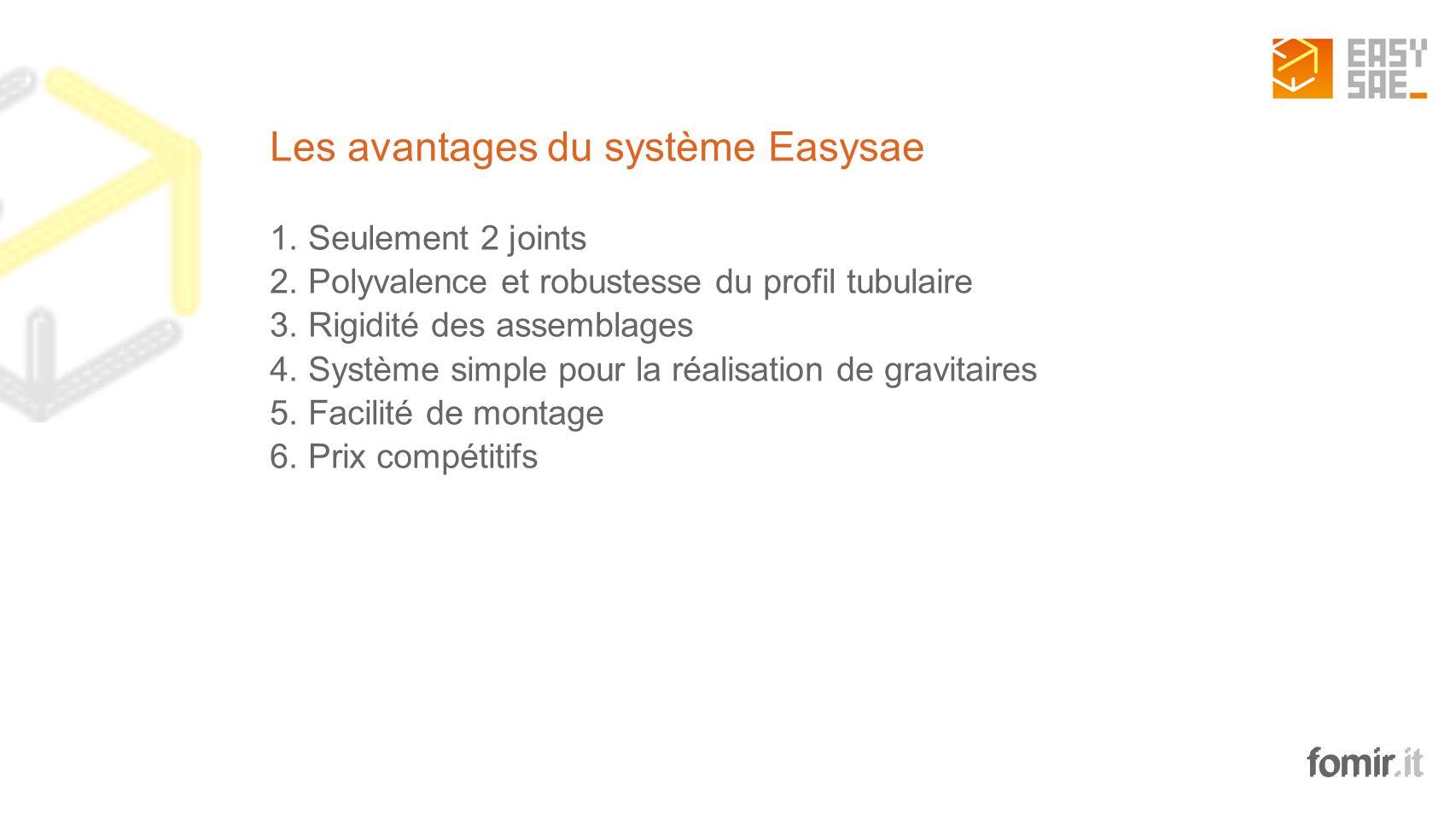 fomir.it Les avantages du système Easysae 1. Seulement 2 joints 2. Polyvalence et robustesse du profil tubulaire 3. Rigidité des assemblages 4. Systèm