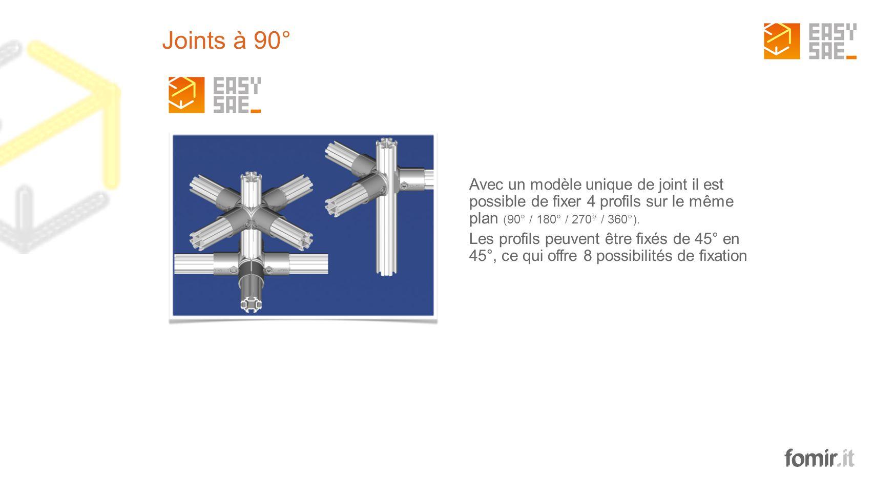 fomir.it Avec un modèle unique de joint il est possible de fixer 4 profils sur le même plan (90° / 180° / 270° / 360°). Les profils peuvent être fixés