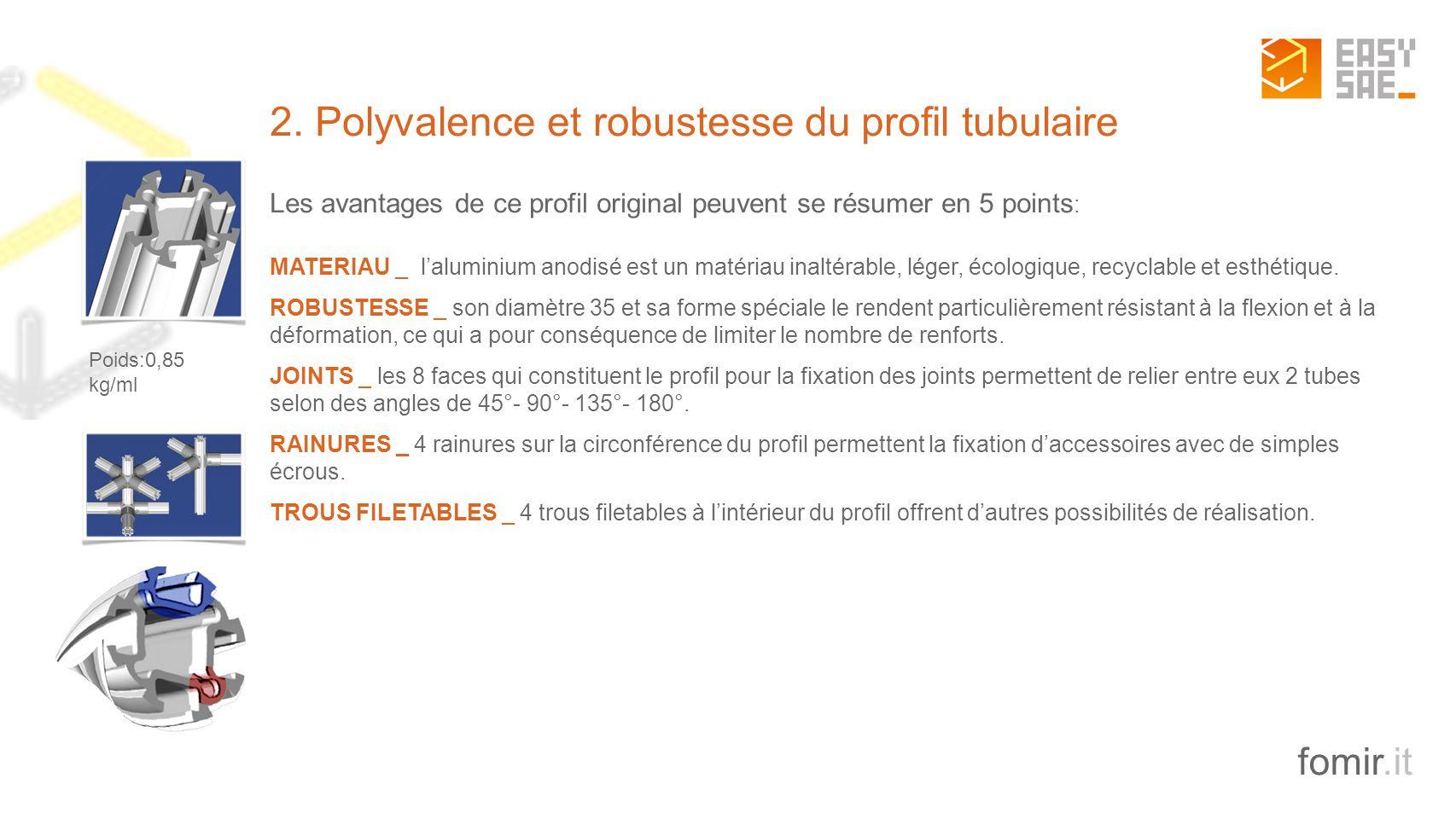 fomir.it 2. Polyvalence et robustesse du profil tubulaire Les avantages de ce profil original peuvent se résumer en 5 points : MATERIAU _ l'aluminium
