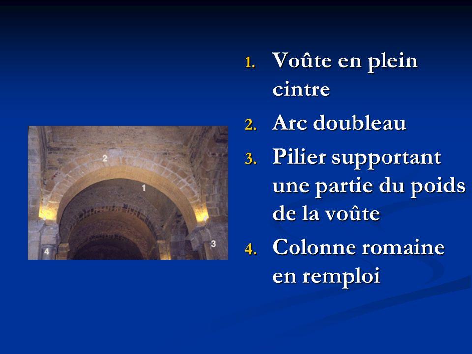 1. Voûte en plein cintre 2. Arc doubleau 3. Pilier supportant une partie du poids de la voûte 4. Colonne romaine en remploi