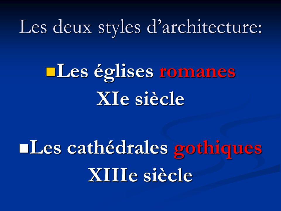 Les deux styles d'architecture: Les églises romanes Les églises romanes XIe siècle Les cathédrales gothiques Les cathédrales gothiques XIIIe siècle