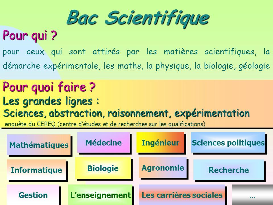 Pour quoi faire ? Les grandes lignes : Sciences, abstraction, raisonnement, expérimentation enquête du CEREQ (centre d'études et de recherches sur les