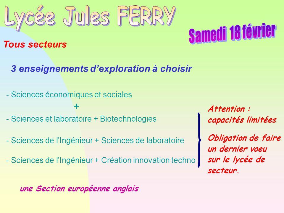 une Section européenne anglais - Sciences économiques et sociales + - Sciences et laboratoire + Biotechnologies - Sciences de l'Ingénieur + Sciences d